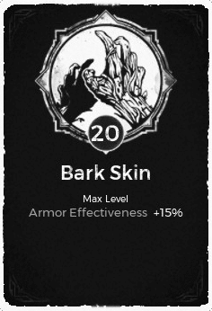 The Bark Skin passive trait at level 20, in the video game Remnant: From the Ashes.