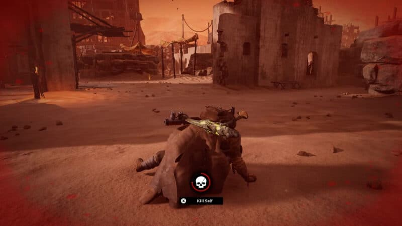 The player's character as seen in the downed, 'Wounded' state. The Bleed-out timer is the depleting circle in the middle of the screen.