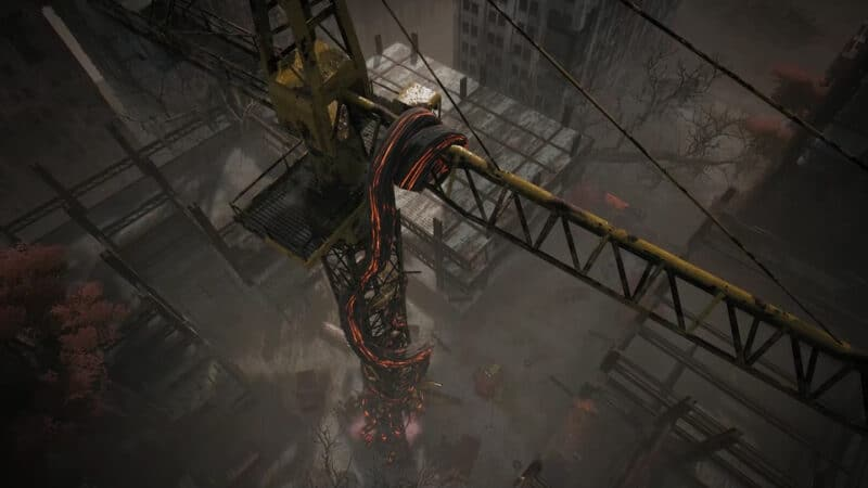 The Root Shrine grows itself around the crane in the opening sequence of the event of the same name, found on Earth in the video game, Remnant: from The Ashes.