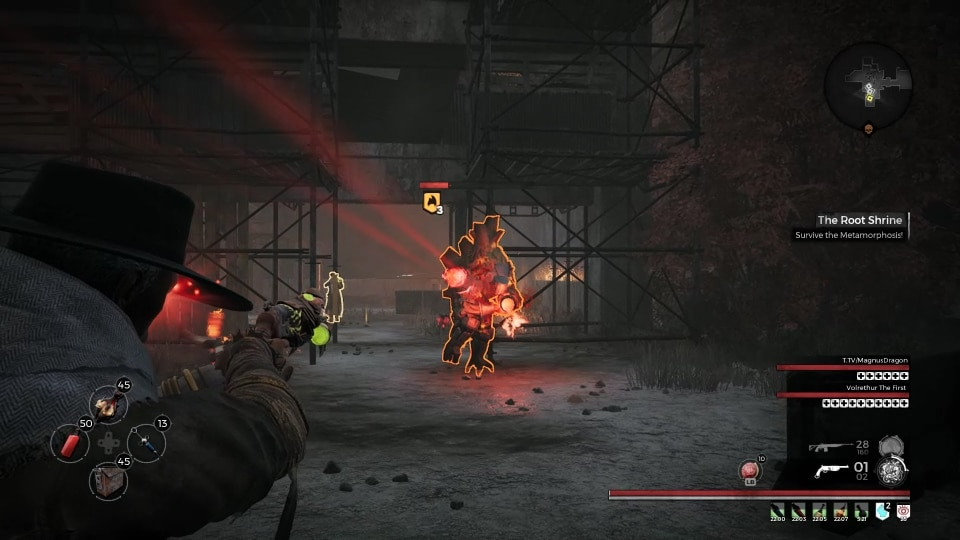 A Juggernaught using its mini-gun cannon in The Root Shrine event, in the Earth world zone in the video game, Remnant: From the Ashes.