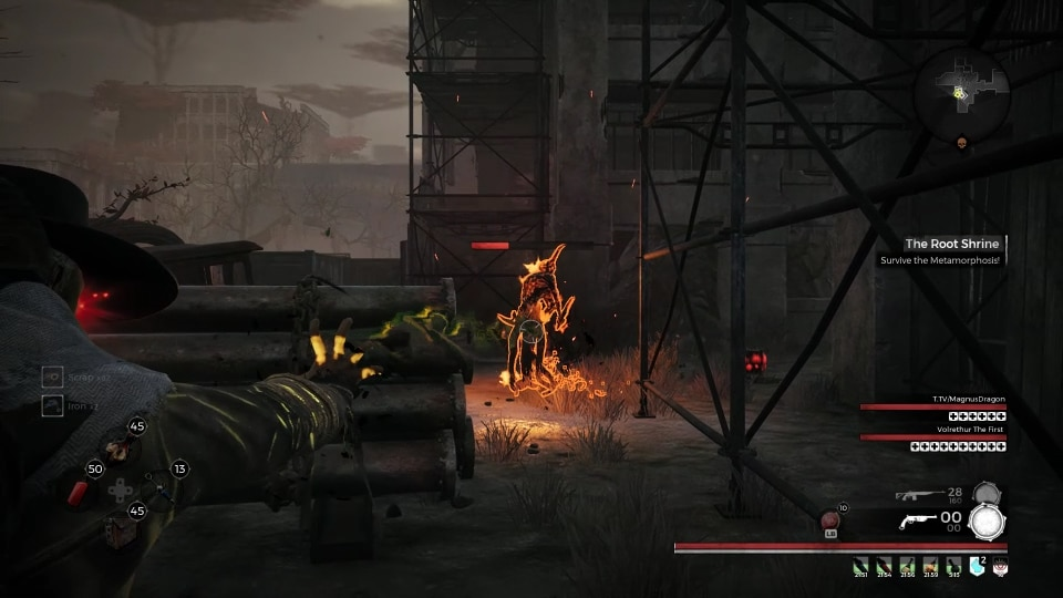 An Immolator activates its fire skin in The Root Shrine event, in the Earth world zone in the video game, Remnant: From the Ashes.