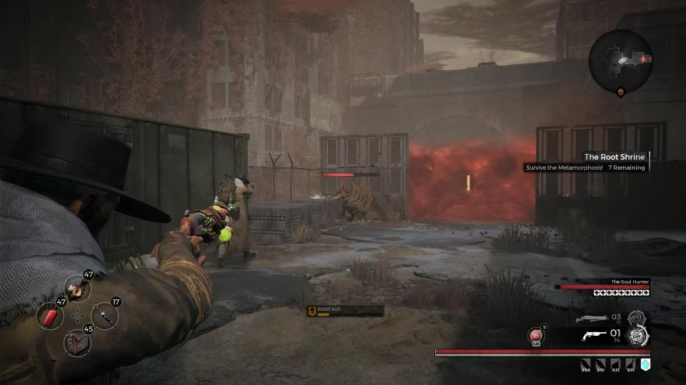A Tumbleweed trying to doge bullets in The Root Shrine event, in the Earth world zone in the video game, Remnant: From the Ashes.