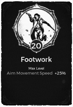 The Footwork passive trait at level 20, in the video game Remnant: From the Ashes.