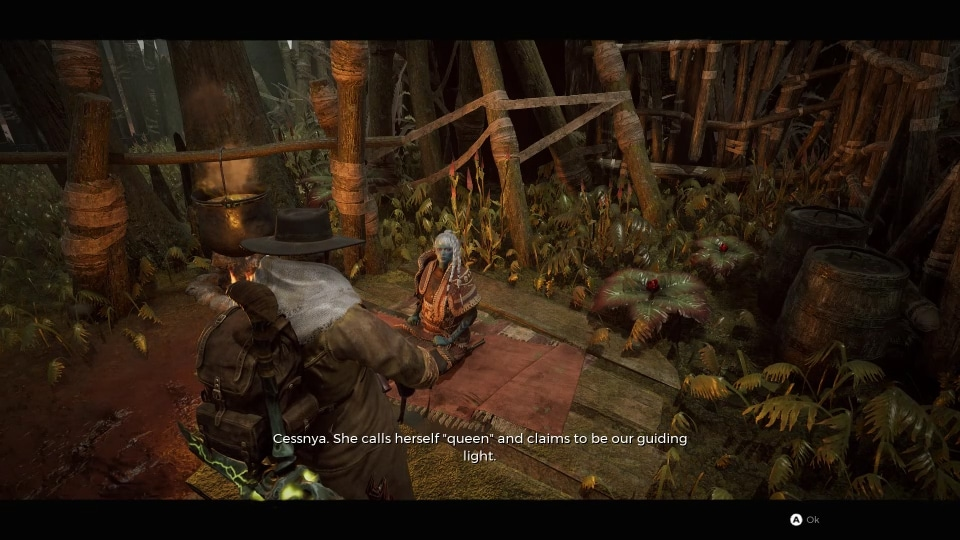The Graveyard Elf outside of her hut in the vieo game, Remnant: From the Ashes.
