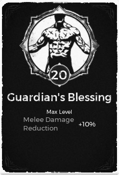 The Guardian's Blessing passive trait at level 20, in the video game Remnant: From the Ashes.