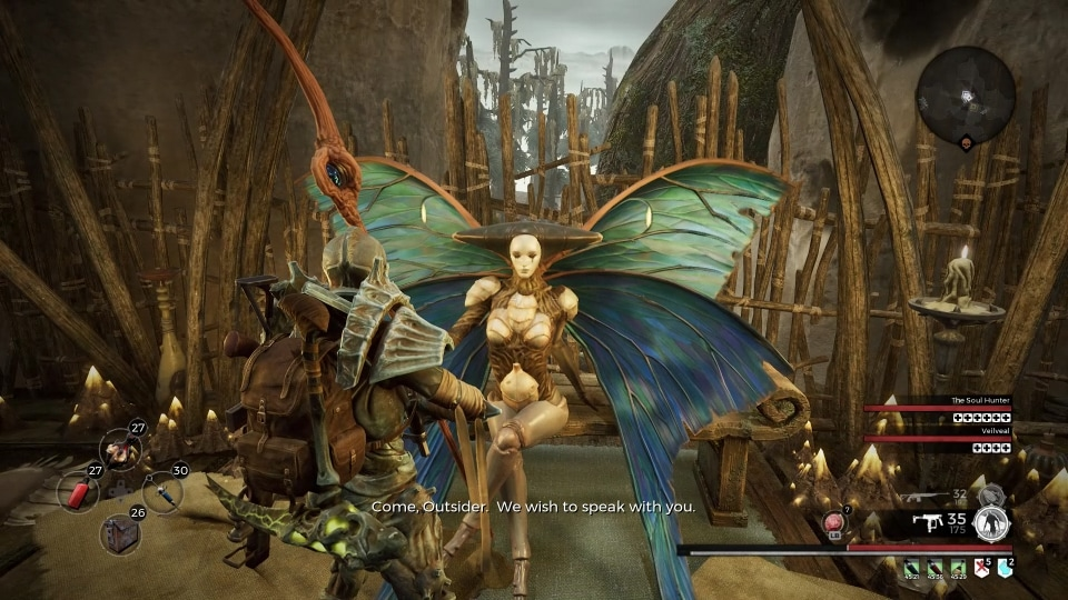 The Iskal Queen, vendor version, found in the central area of Corsus by the main outdoor checkpoint, in the video game Remnant: from the Ashes.