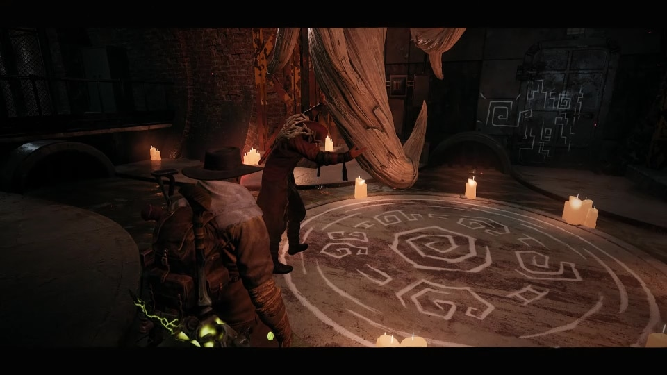 The Root Cultist at the end of Marrow Pass in his special room. Talk to him before shooting the Nexus to get the Root Circlet. Part of the Cult of the Root event in the Earth world zone in the video game, Remnant: From the Ashes.