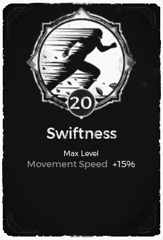 The Swiftness passive trait at level 20, in the video game Remnant: From the Ashes.