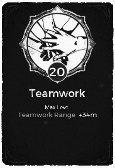 The Teamwork passive trait at level 20 in Remnant: From the Ashes.